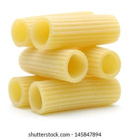 """Italian pasta """"rigatoni"""" isolated on white background"""