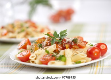 Italian pasta with sauce and parmesan cheese