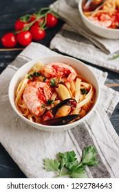 Italian pasta Scialatielli ai frutti di mare