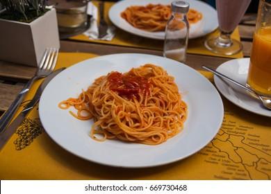 Italian pasta spaghetti. Restaurant food concept.
