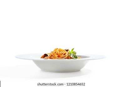 Italian Pasta with Squid, Scallop, Prawns, Salmon, Cod, Blue Mussels, Shrimps, Garlic, Onion, White Wine, Basil, Kalamata Olives, Cherry Tomatoes, Tomato Sauce, Parmesan Cheese Isolated