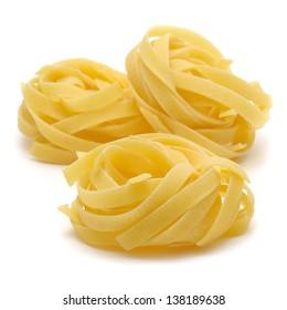 "Italian pasta ""tagliatelle"" isolated on white background"