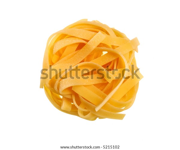 Italian pasta: tagliatelle on white background