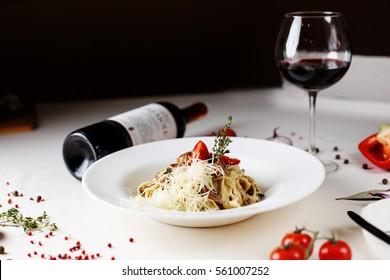 Italian pasta with wine