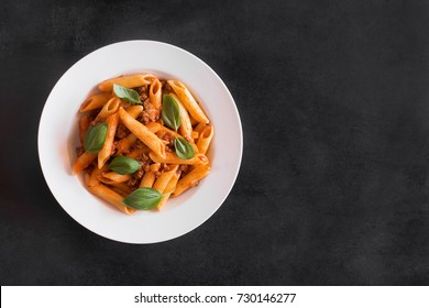Italian Penne pasta with Bolognese sauce