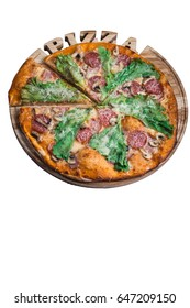 Italian pizza cesare with salami mushrooms and salad. A series of different types of pizza for menus from one angle