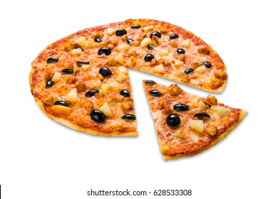 Italian pizza with chicken, pineapple and olives isolated at white background, slice cut off