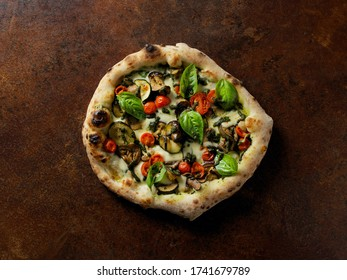 Italian pizza on a brown background