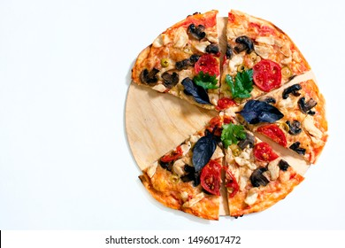 Italian pizza on white background