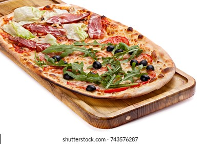 Italian pizza on a wooden chopping board isolated on white background.