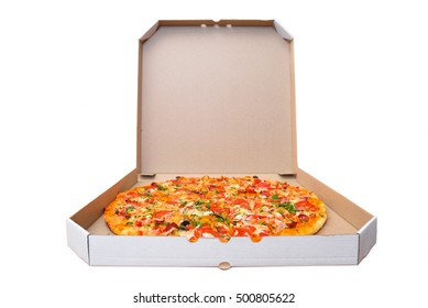 Italian pizza in paper Cardboard boxes on a white background.