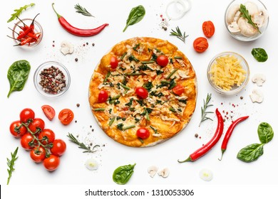 Italian pizza and various ingredients isolated on white background, top view