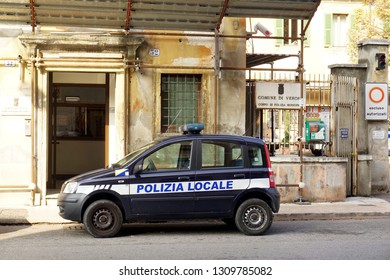 Italian police car and police station in Verona, Italy, October 2017