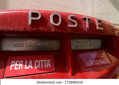 """Italian Post Box with one slot with inscription """"per la città"""" (english """"for the city"""") and the other slot with inscription """"per tutte le altre destinazioni"""" (english """"in for all other destination"""")"""