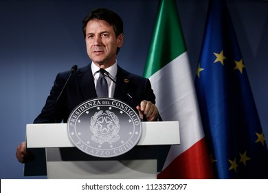 Italian Prime Minister Giuseppe Conte holds a news conference after the European Council summit in Brussels, Belgium, 29 June 2018.