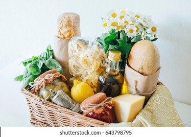 Gift basket shutterstock italian products italian traditions ingredients healthy food basket with products basket negle Images