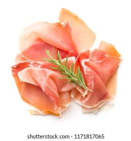Italian prosciutto crudo or jamon isolated on white background.