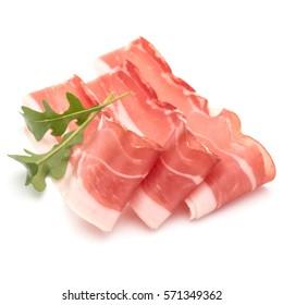 Italian prosciutto crudo or jamon. Raw ham. Isolated on white background.