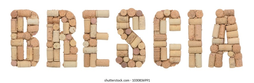 Italian province Brescia made of wine corks Isolated on white background