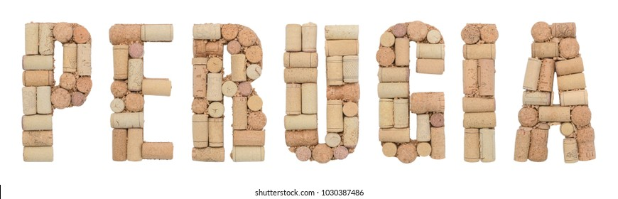 Italian province Perugia made of wine corks Isolated on white background