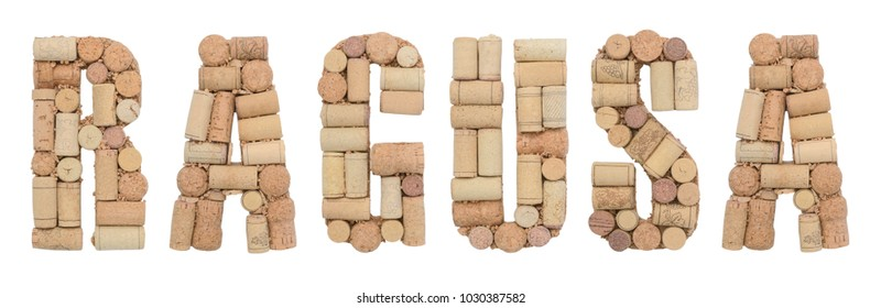 Italian province Ragusa made of wine corks Isolated on white background