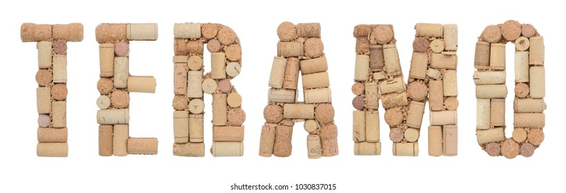 Italian province Teramo made of wine corks Isolated on white background