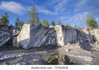 Italian quarry in the quarries of Ruskeala. Russia, Karelia