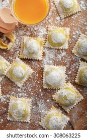 Italian ravioli with courgette and ricotta filling.