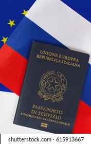 Italian Republic. Service Passport of an International official- translation from Italian. The pass is placed on the flags of EU and Russia.