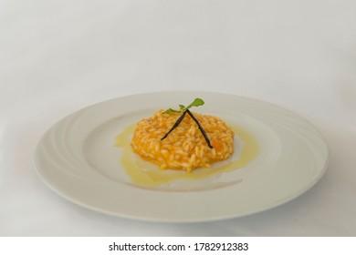 Italian risotto plate with saffron