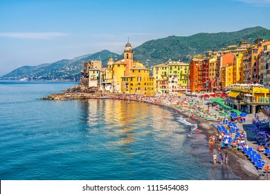italian riviera colorful beach landscape of the Camogli village in Liguria - Genoa province .