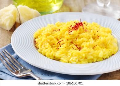 Italian saffron risotto or alla milanese