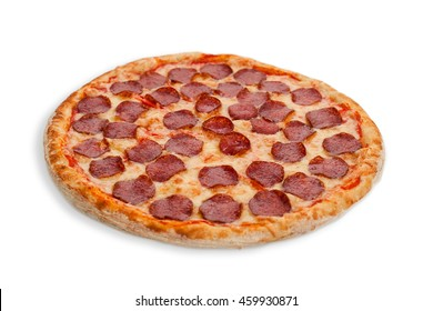 Italian salami pizza white whole backed meal