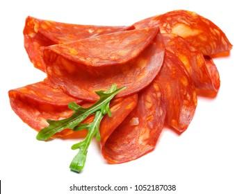 Italian Salami or spanish chorizo on white background