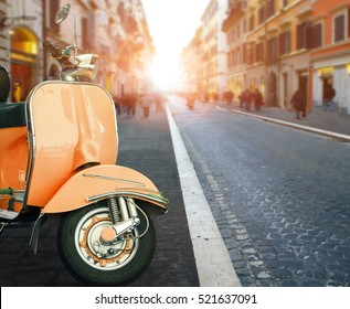 italian scooter parking at  old building style in rome use as traveling background ,backdrop