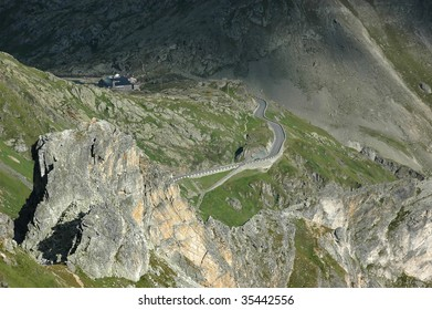 The Italian side of the Grand Saint Bernard Pass on the swiss italian border, famous for its monastery, hospice, dogs, and Napoleon.