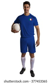 Italian soccer player holding ball on white background.