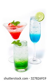 Italian Soda drink isolate on white , Drink Soda various fruits