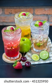Italian soda with fruit /food styling