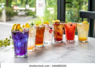Italian sodas on the table close-up