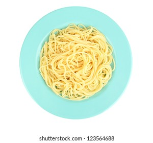 Italian spaghetti in plate isolated on white