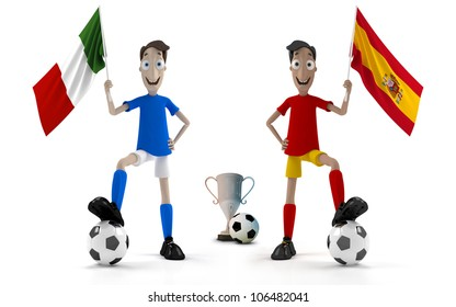 Italian and Spanish smiling cartoon style soccer player with ball and flag