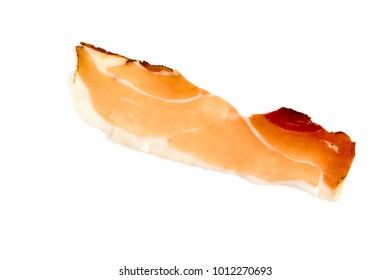 Italian speck or Italian prosciutto crudo, raw ham, slices isolated on white background, with clipping path.