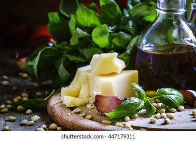 Italian spices, herbs, cheese and olive oil, selective focus