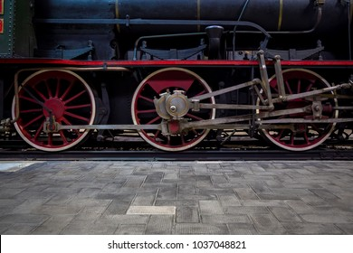 Italian steam locomotive detail, bult by the Costruzioni Elettro Meccaniche di Saronno, 1883. It was withdrawn from service in 1952, when electric engines were introduced.