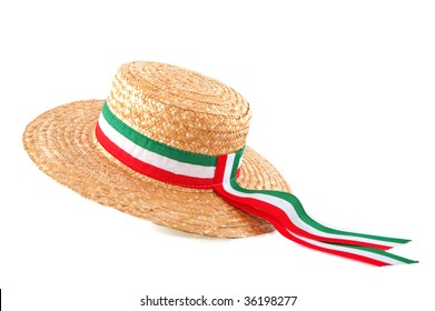 Italian straw hat with flag ribbon isolated over white