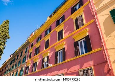 Italian street, bright colours facades