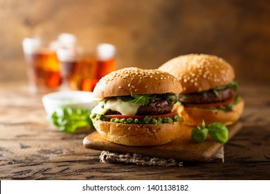 Italian style burgers with pesto sauce