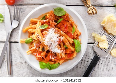 Italian style pasta with tomato sauce