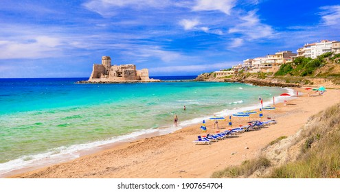 Italian summer holidays. Le Castella .Isola di Capo Rizzuto - beaches and castles of Calabria, south of Italy